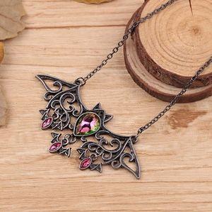 Mystic Fire Gothic Hollowed Bat Necklace Black